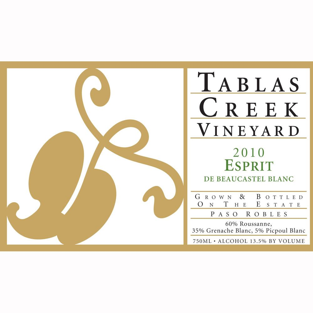 Tablas Creek Esprit de Beaucastel Blanc 2010 Front Label