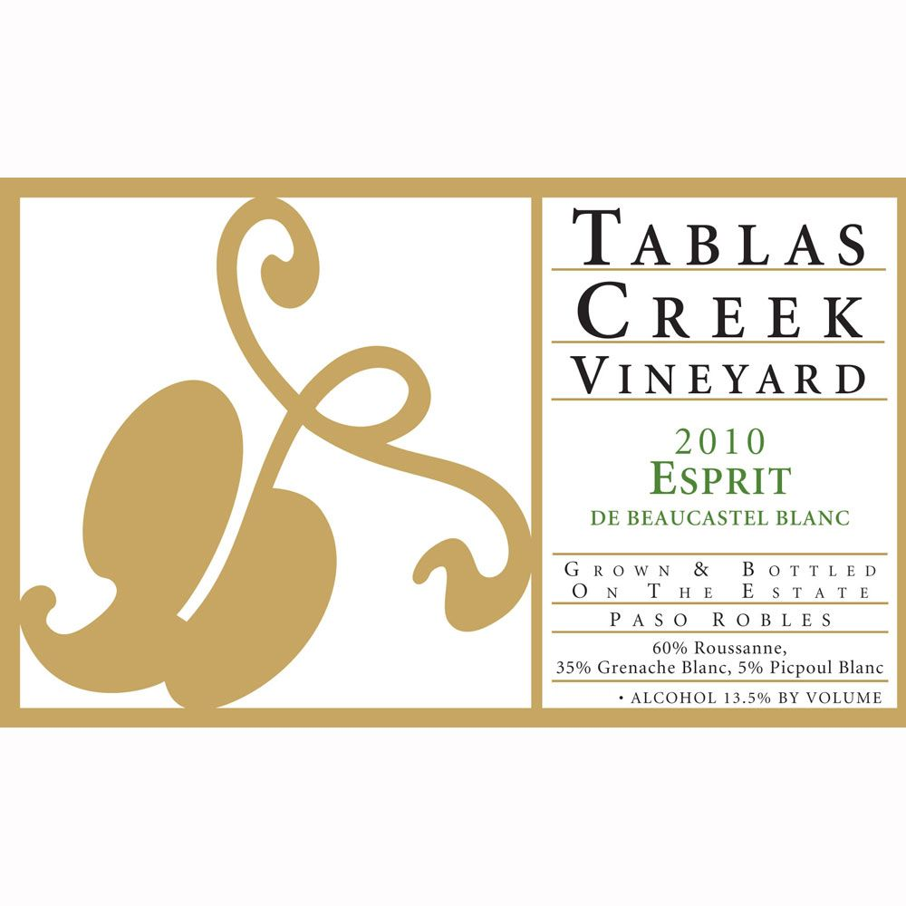 Tablas Creek Esprit de Beaucastel Blanc (375ML half-bottle) 2010 Front Label
