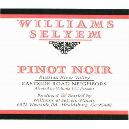 Williams Selyem Eastside Road Neighbors Pinot Noir 2010 Front Label