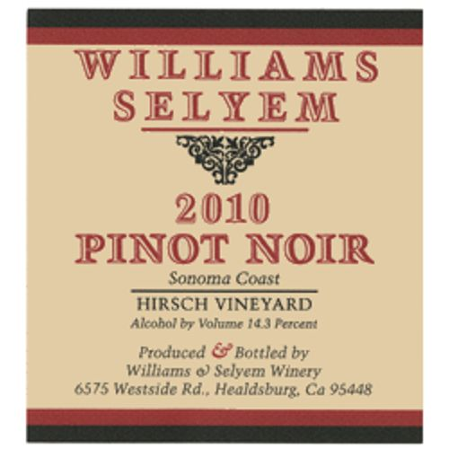 Williams Selyem Hirsch Pinot Noir 2010 Front Label