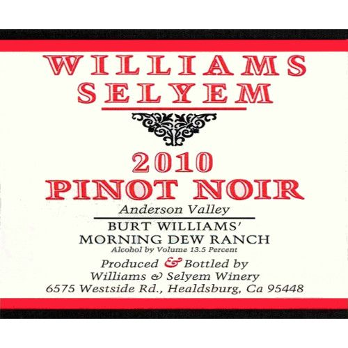 Williams Selyem Burt Williams Morning Dew Ranch Pinot Noir 2010 Front Label