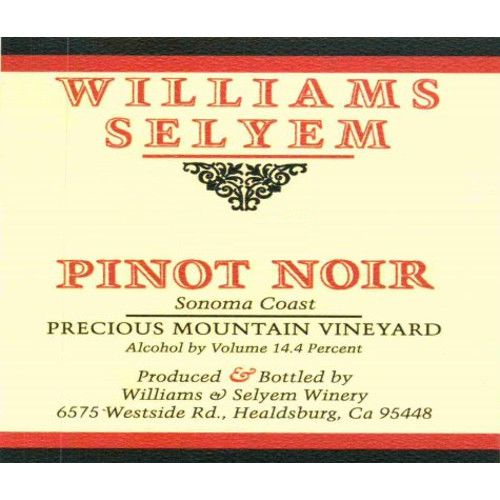 Williams Selyem Precious Mountain Pinot Noir 2010 Front Label