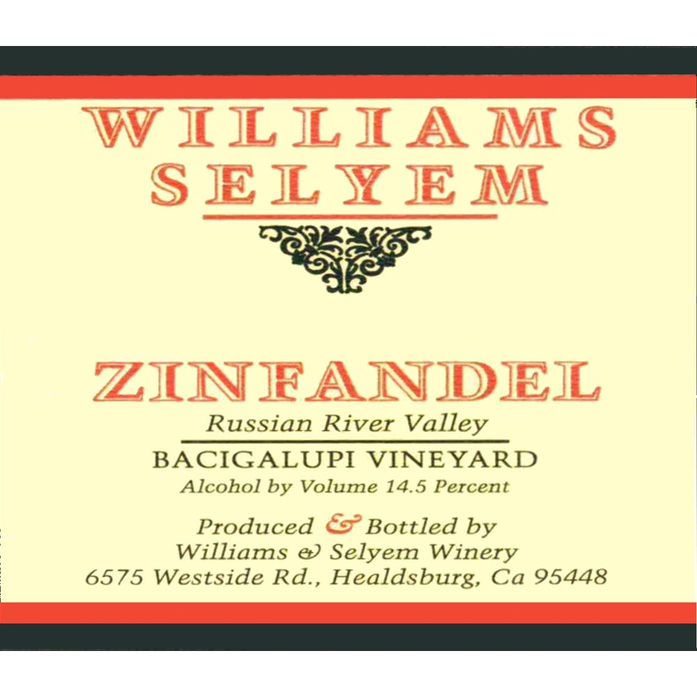 Williams Selyem Bacigalupi Vineyard Zinfandel 2010 Front Label