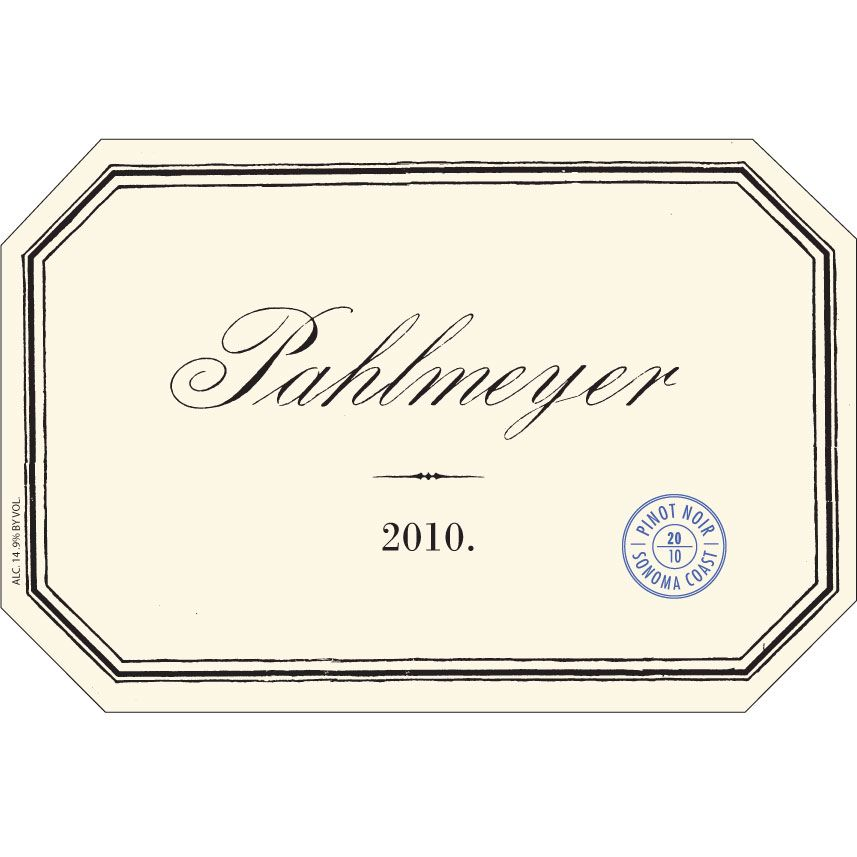 Pahlmeyer Sonoma Coast Pinot Noir 2010 Front Label