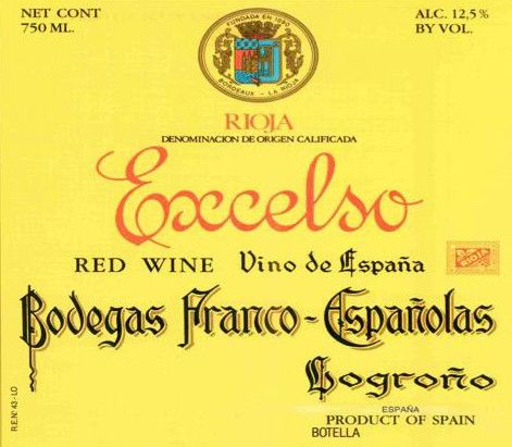 Bodegas Franco-Espanolas Excelso Gran Reserva 1962 Front Label