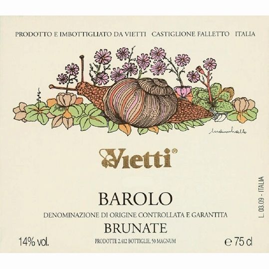 Vietti Barolo Brunate 2001 Front Label