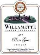 Willamette Valley Vineyards Pinot Gris 1997 Front Label