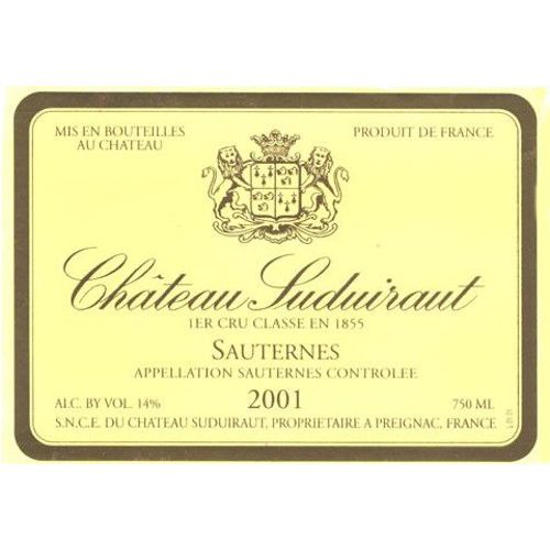 Chateau Suduiraut (375ML half-bottle) 2001 Front Label