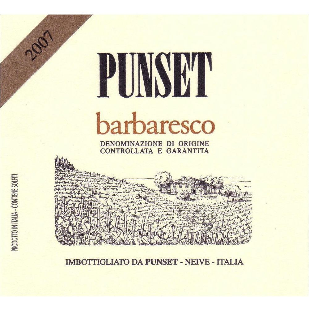 Punset Barbaresco 2007 Front Label