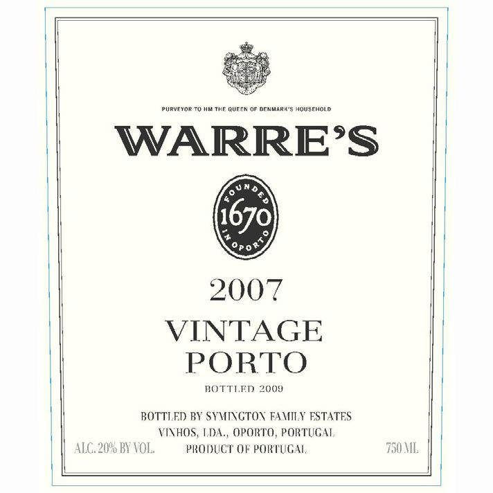 Warre's Vintage Port (375ML half-bottle) 2007 Front Label