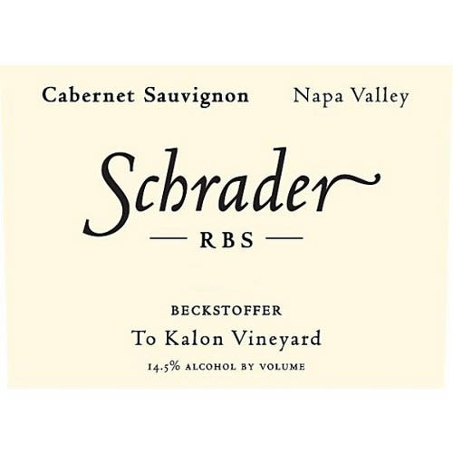 Schrader RBS To Kalon Vineyard Cabernet Sauvignon 2010 Front Label