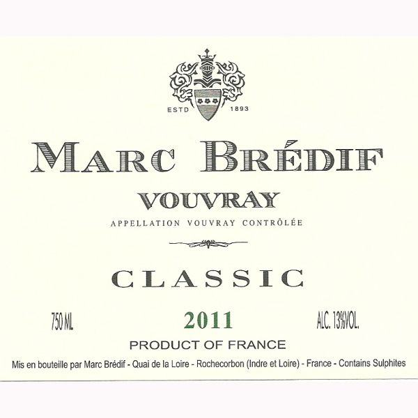 Marc Bredif Vouvray 2011 Front Label