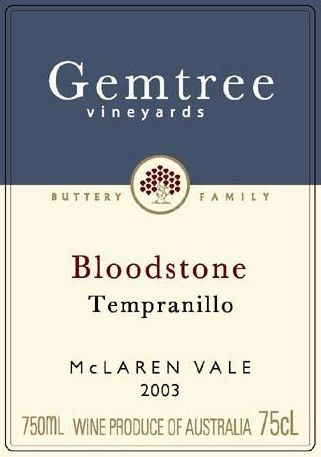 Gemtree Vineyards Bloodstone Tempranillo 2003 Front Label