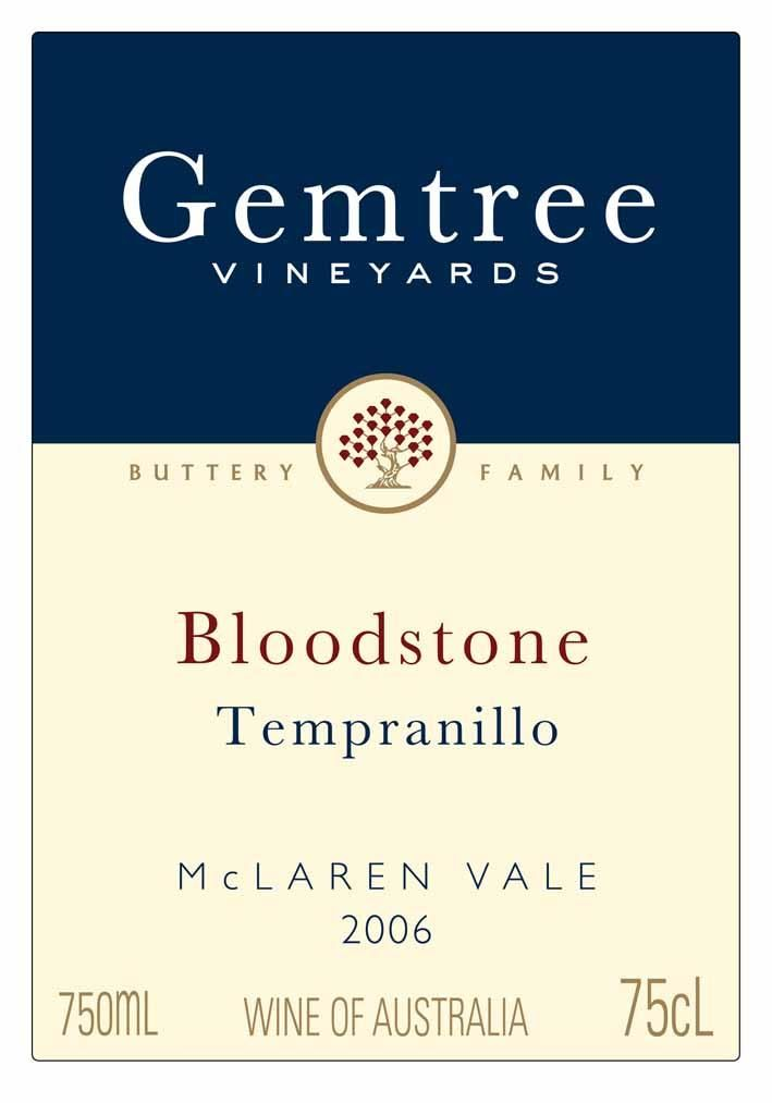 Gemtree Vineyards Bloodstone Tempranillo 2006 Front Label