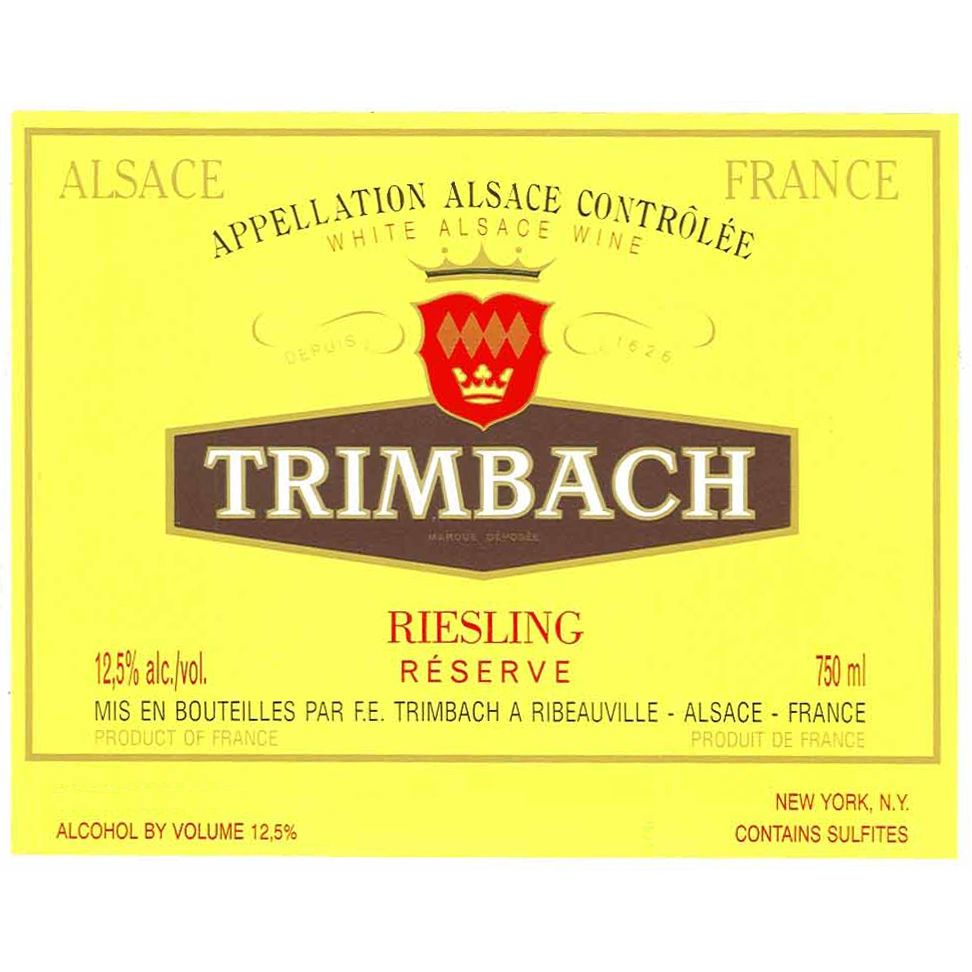 Trimbach Reserve Riesling 2010 Front Label