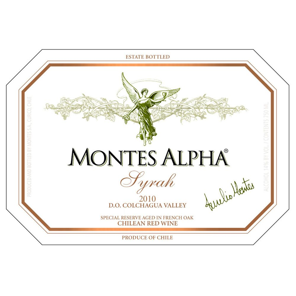 Montes Alpha Series Syrah 2010 Front Label