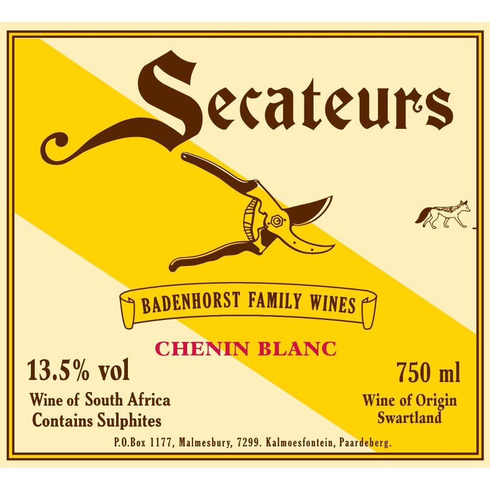 Badenhorst Secateurs Chenin Blanc 2012 Front Label