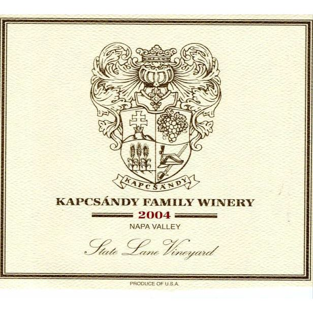 Kapcsandy Family Winery State Lane Vineyard Estate Cuvee 2004 Front Label