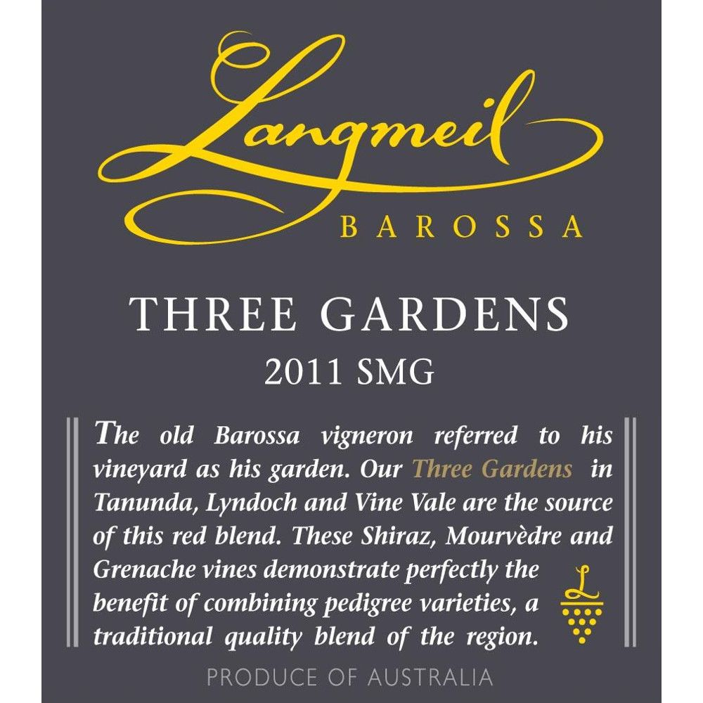 Langmeil Three Gardens SMG 2011 Front Label
