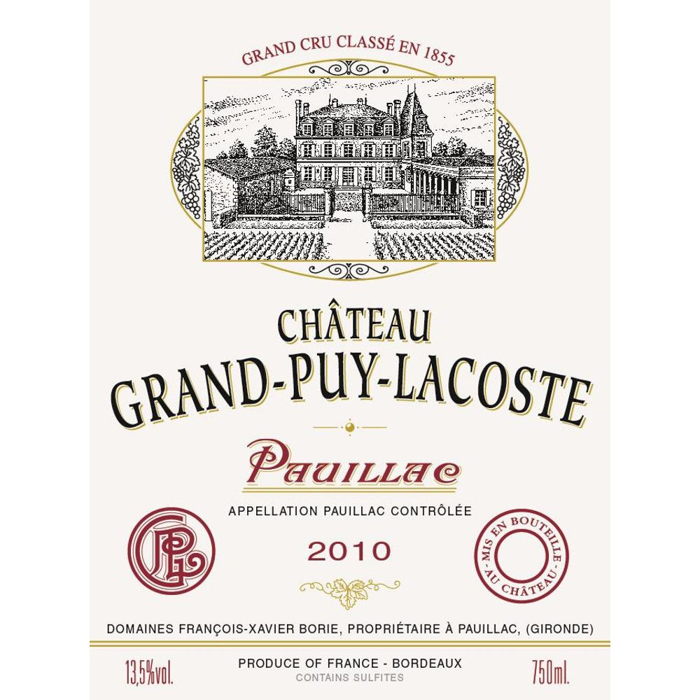 Chateau Grand-Puy-Lacoste  2010 Front Label