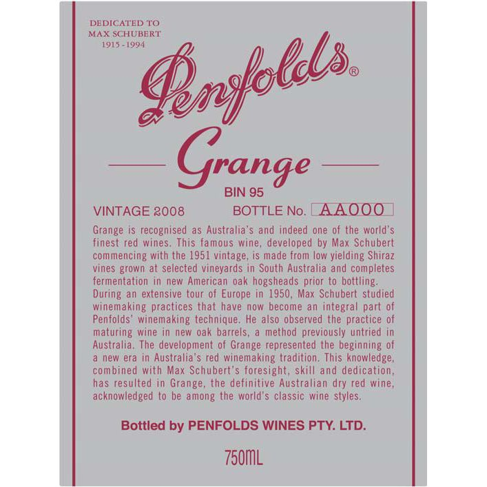 Penfolds Grange 2008 Front Label