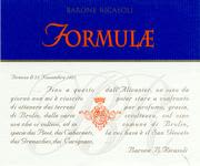 Barone Ricasoli Formulae Sangiovese 1996 Front Label