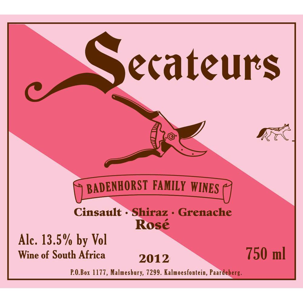Badenhorst Secateurs Rose 2012 Front Label