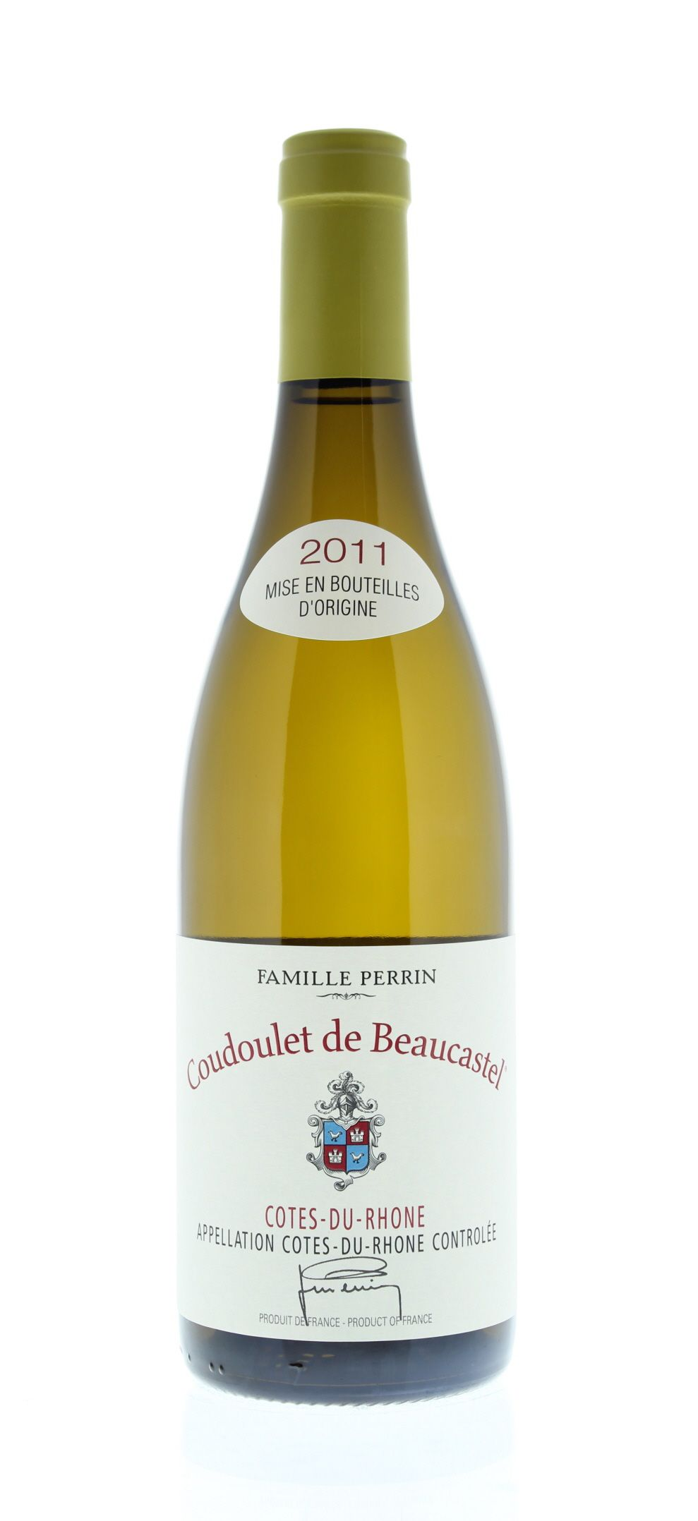 Chateau de Beaucastel Coudoulet Blanc 2011 Front Bottle Shot