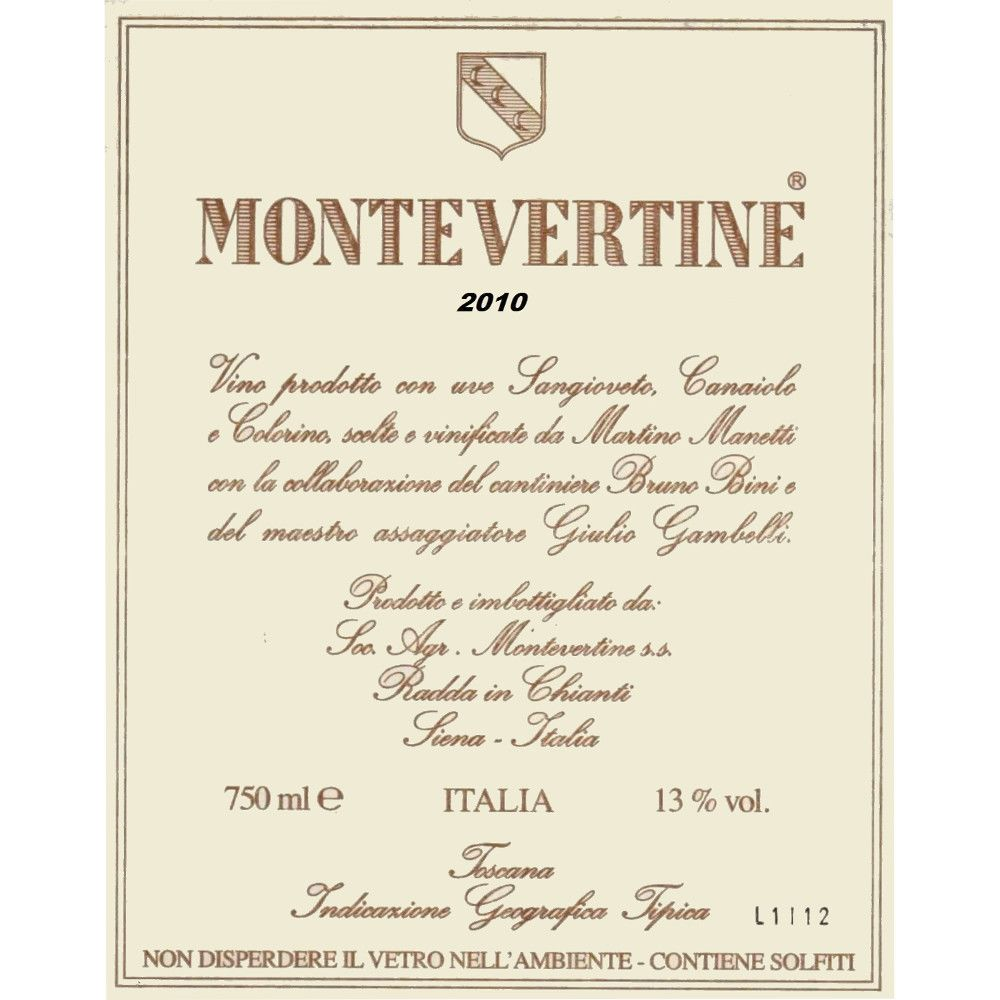 Montevertine Rosso di Toscana 2010 Front Label