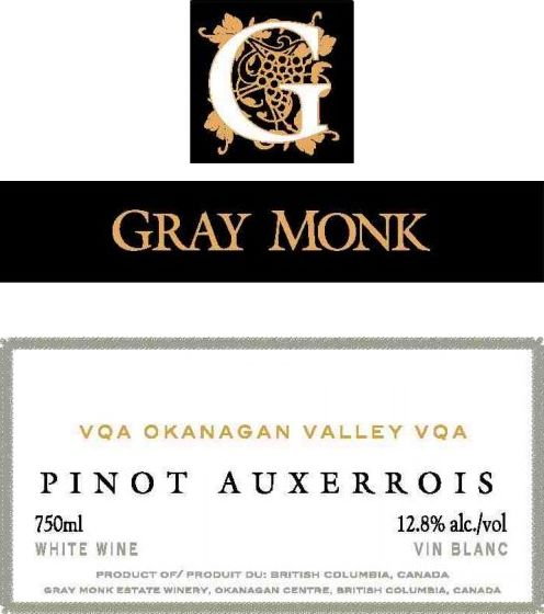 Gray Monk Okanagan Valley Pinot Auxerrois 2006 Front Label