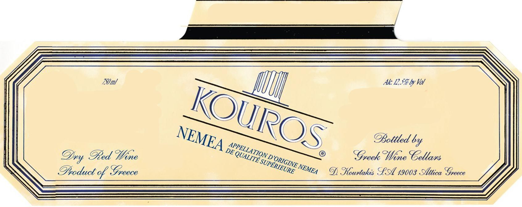 D. Kourtakis by Greek Wine Cellars Kouros Red 2012 Front Label