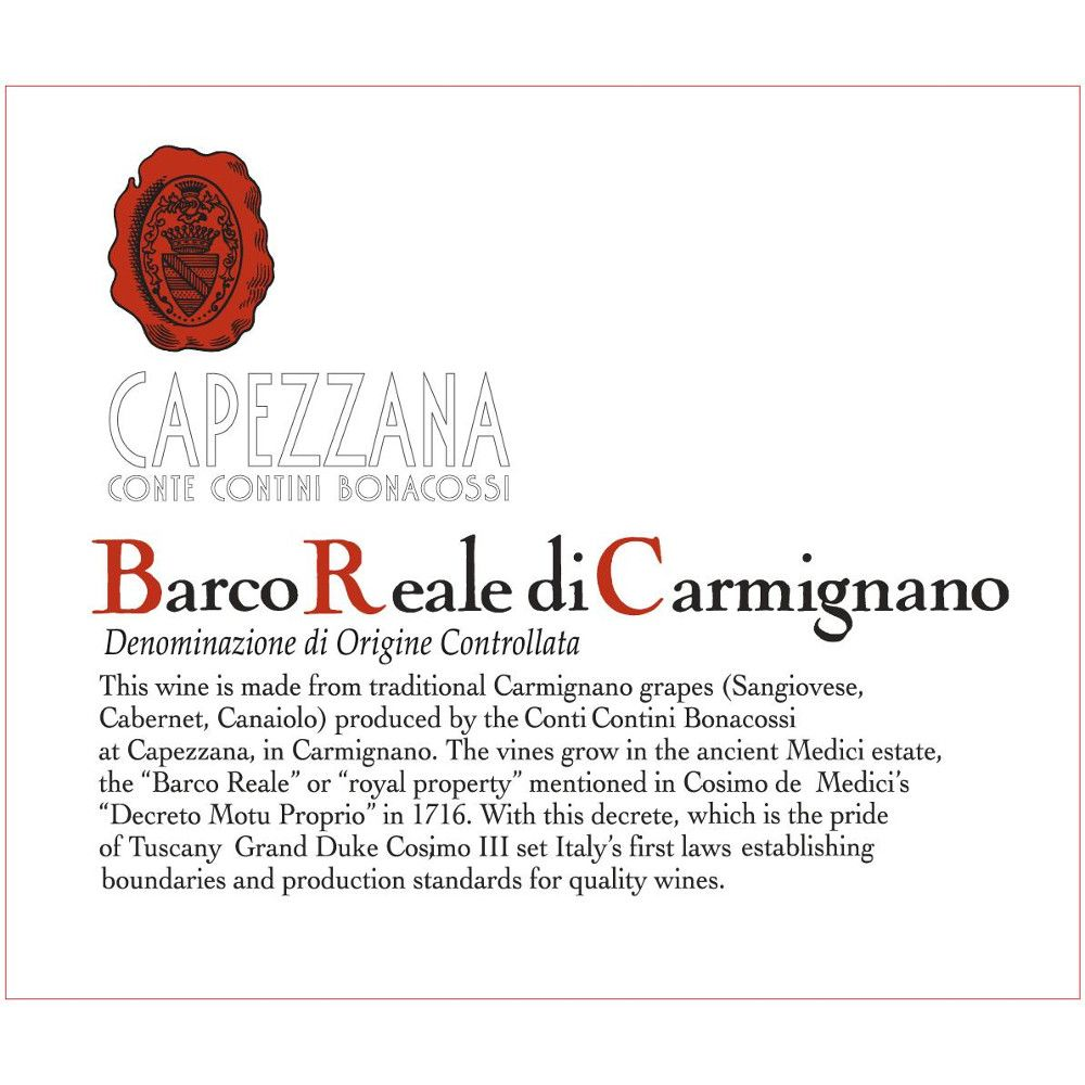 Capezzana Barco Reale 2010 Front Label