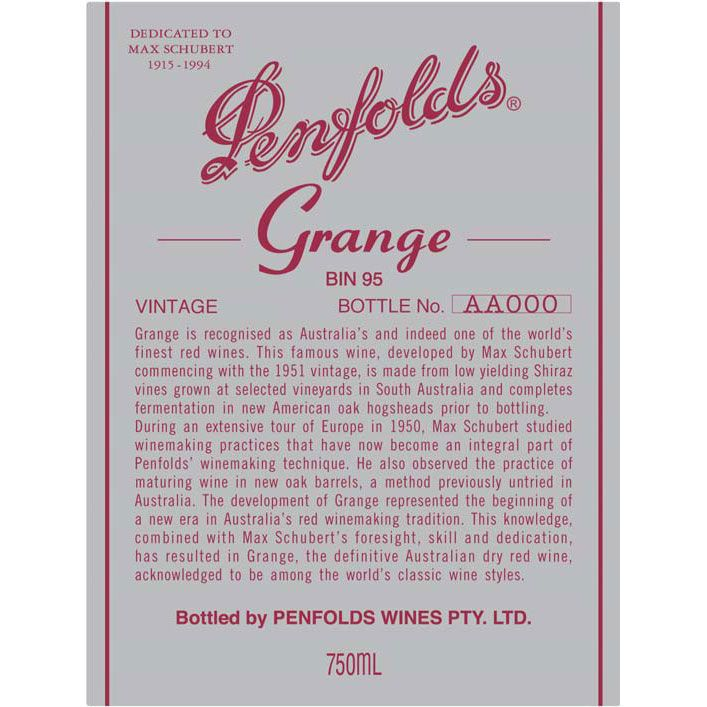 Penfolds Grange 1991 Front Label