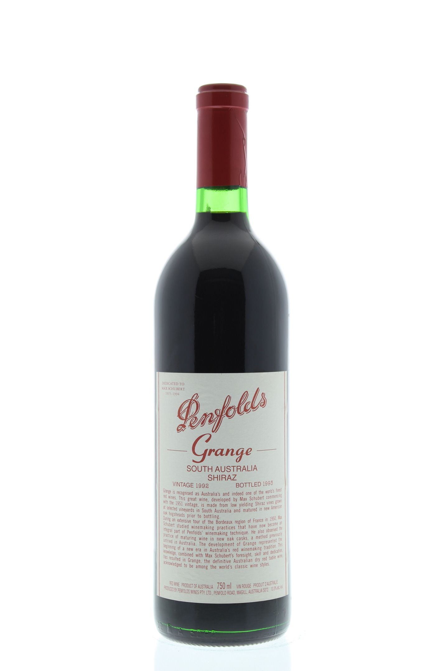 Penfolds Grange 1992 Front Bottle Shot