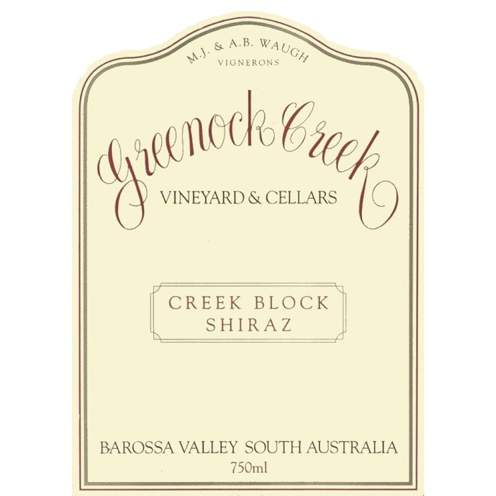 Greenock Creek Creek Block Shiraz 2002 Front Label
