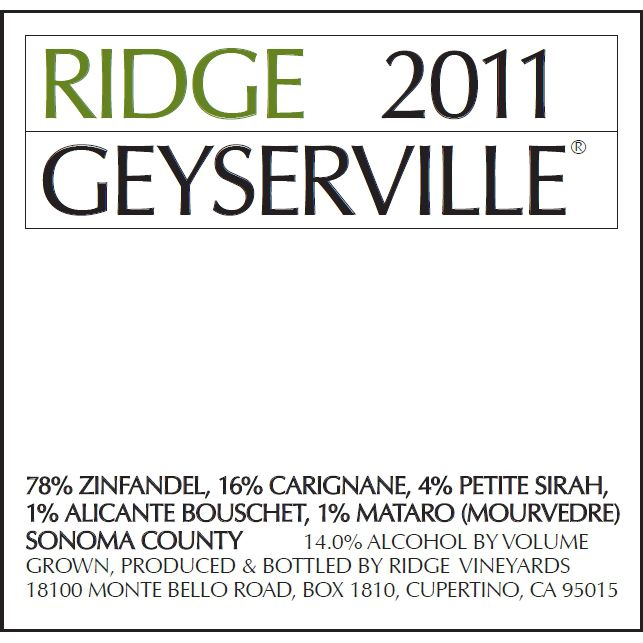 Ridge Geyserville (375ML half-bottle) 2011 Front Label