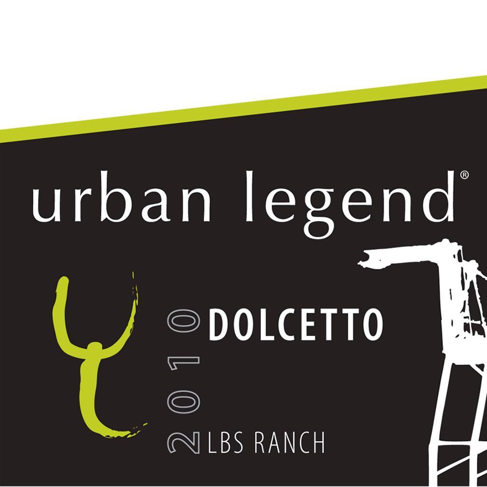 Urban Legend Cellars Dolcetto 2010 Front Label