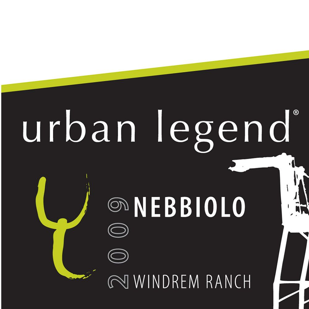 Urban Legend Cellars Nebbiolo 2009 Front Label
