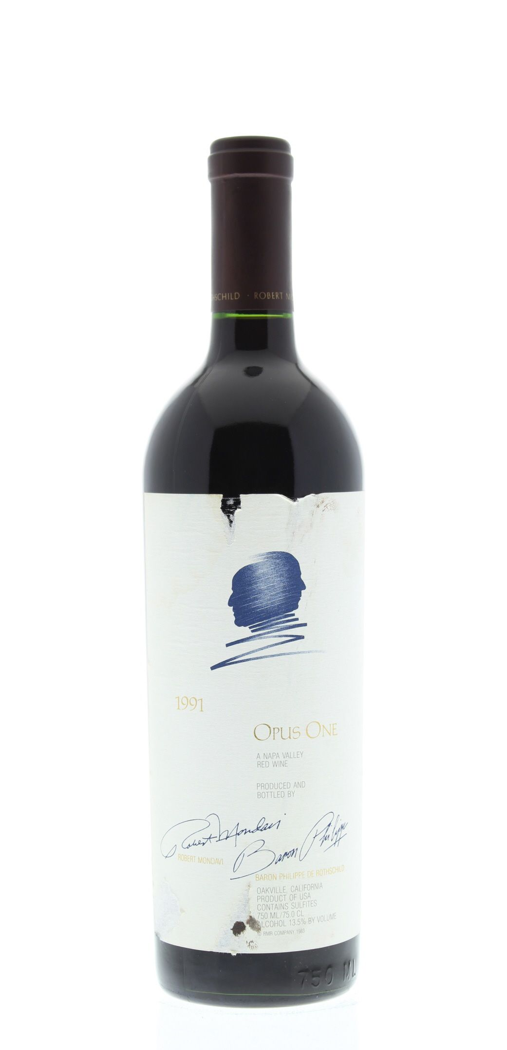 Opus One (slightly torn labels) 1991 Front Bottle Shot