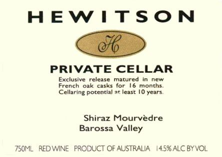 Hewitson Private Cellar Shiraz-Mourvedre 2007 Front Label