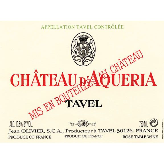 Chateau D'Aqueria Tavel Rose 2012 Front Label