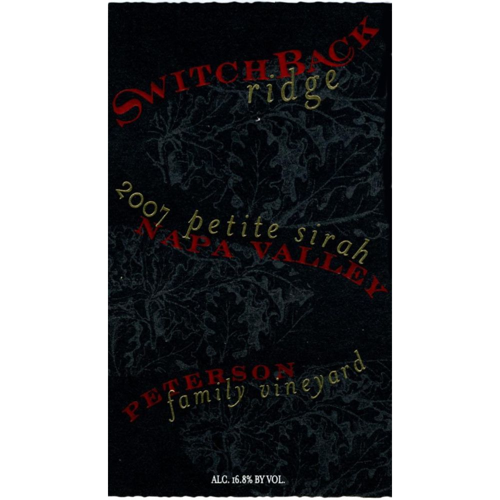 Switchback Ridge Peterson Family Vineyard Petite Sirah (1.5 Liter) 2007 Front Label