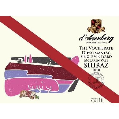 d'Arenberg The Vociferate Dipsomaniac Shiraz 2010 Front Label