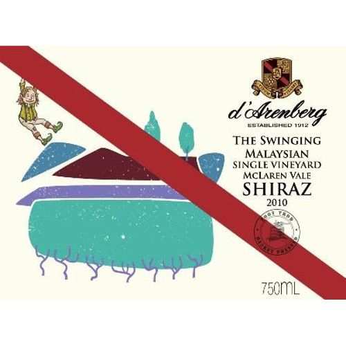 d'Arenberg The Swinging Malaysian Shiraz 2010 Front Label