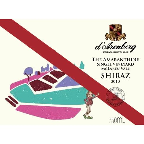 d'Arenberg The Amaranthine Shiraz 2010 Front Label