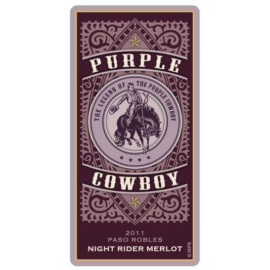 Purple Cowboy Night Rider Merlot 2011 Front Label