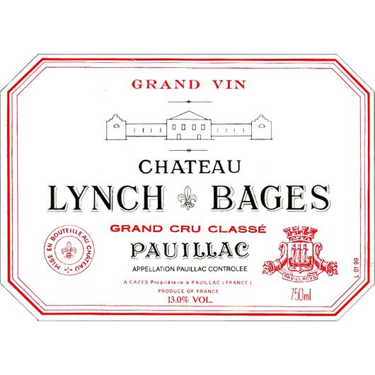 Chateau Lynch-Bages (top shoulder fill) 1975 Front Label