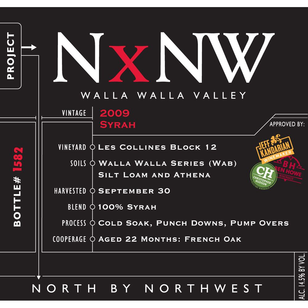 North by Northwest NxNW Syrah 2009 Front Label