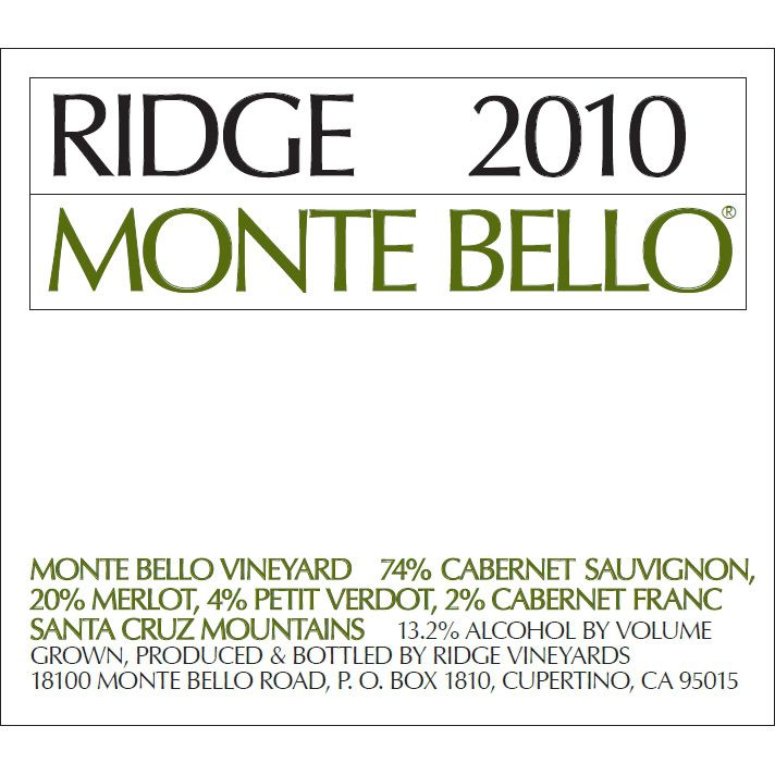 Ridge Monte Bello 2010 Front Label