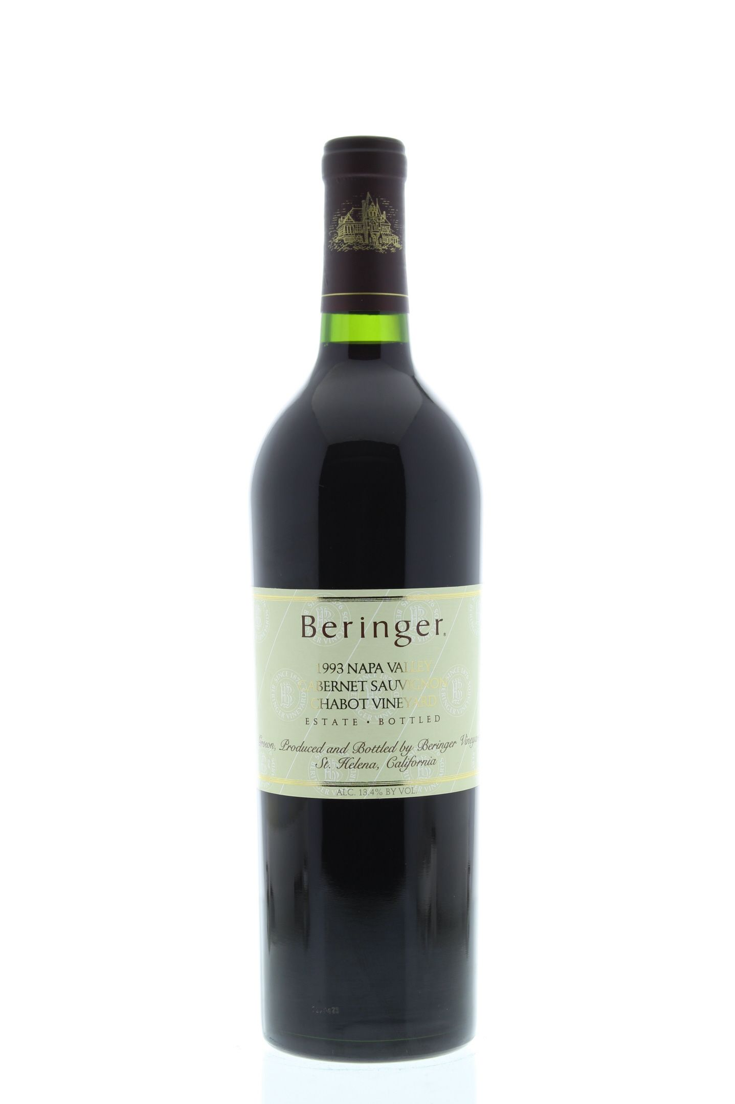 Beringer Chabot Vineyard Cabernet Sauvignon 1993 Front Bottle Shot